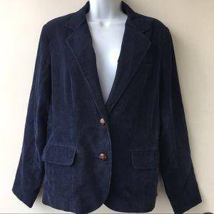 Vintage Corduroy Blazer Dk Blue 2-button Sz 12 D1